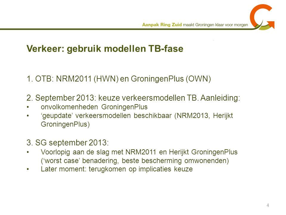 1. OTB: NRM2011 (HWN) en GroningenPlus (OWN) 2. September 2013: keuze verkeersmodellen TB. Aanleiding: onvolkomenheden GroningenPlus 'geupdate' verkee