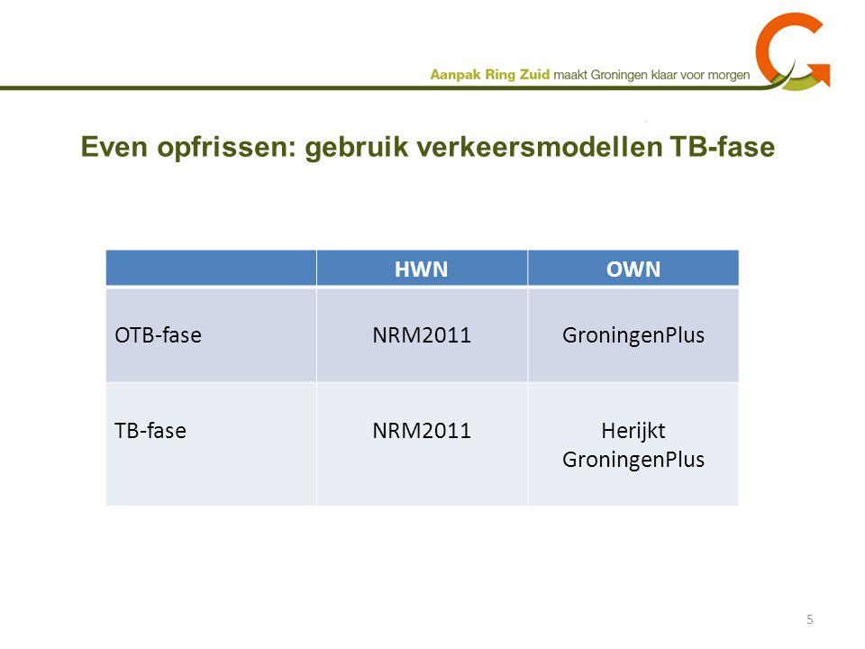 Even opfrissen: gebruik verkeersmodellen TB-fase 5 HWNOWN OTB-faseNRM2011GroningenPlus TB-faseNRM2011Herijkt GroningenPlus