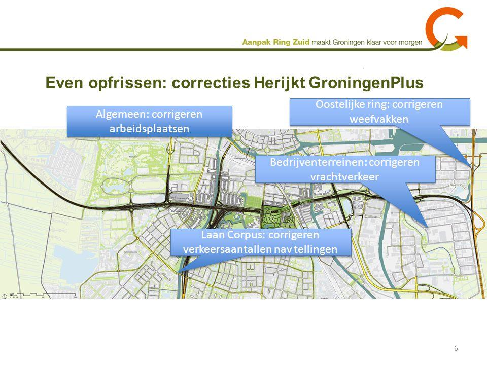 Even opfrissen: correcties Herijkt GroningenPlus 6 Laan Corpus: corrigeren verkeersaantallen nav tellingen Oostelijke ring: corrigeren weefvakken Bedr