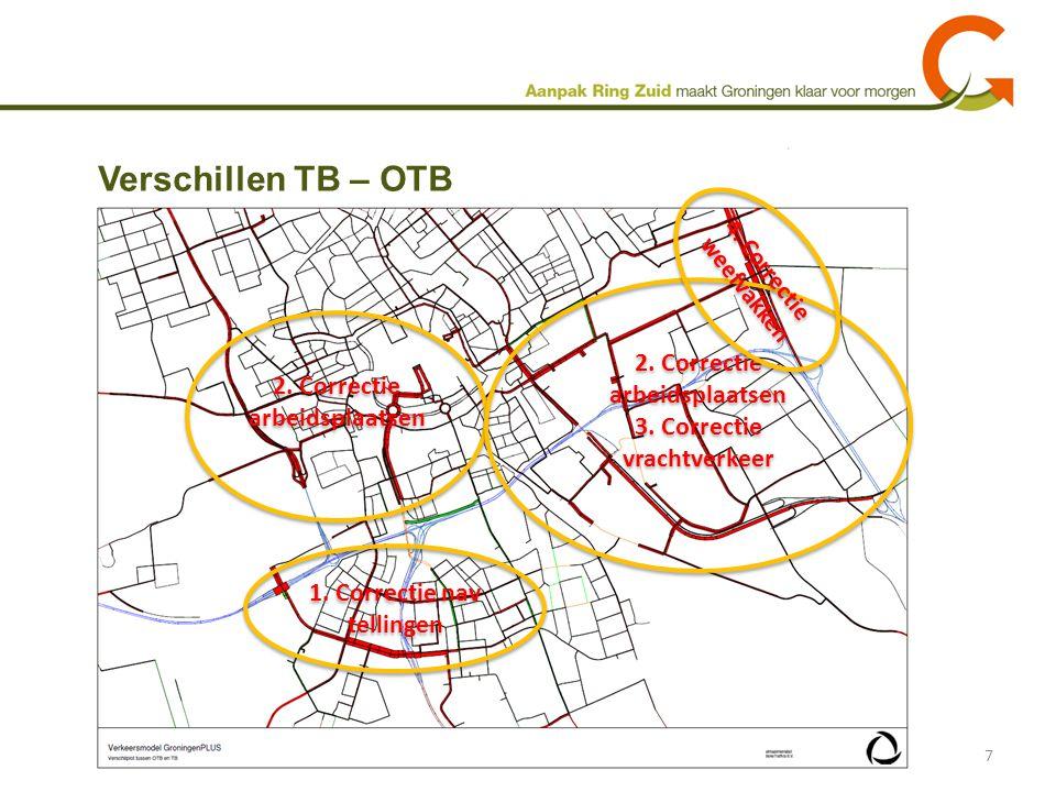 Verschillen TB – OTB 7 2. Correctie arbeidsplaatsen 2. Correctie arbeidsplaatsen 3. Correctie vrachtverkeer 1. Correctie nav tellingen 4. Correctie we