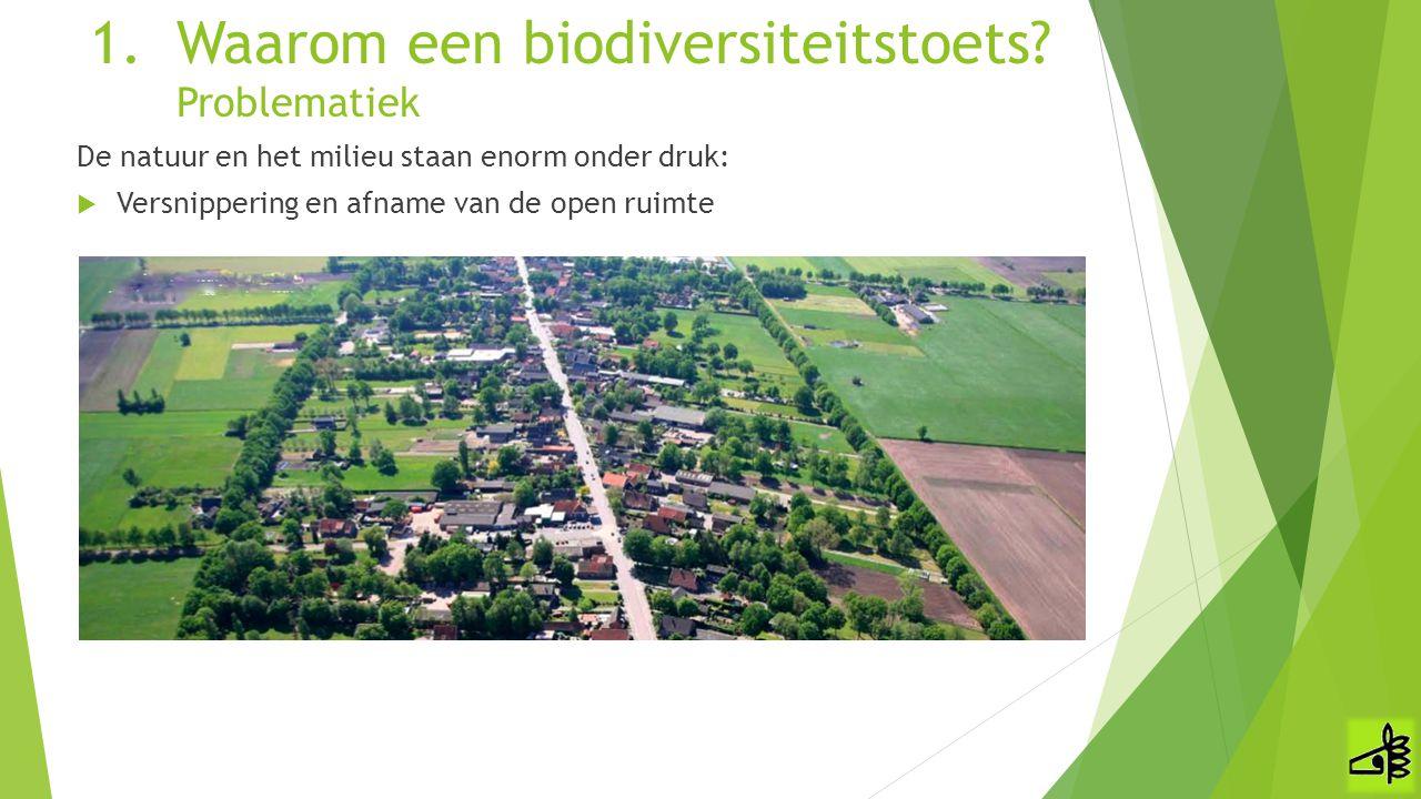 De natuur en het milieu staan enorm onder druk:  Versnippering en afname van de open ruimte 1.Waarom een biodiversiteitstoets? Problematiek