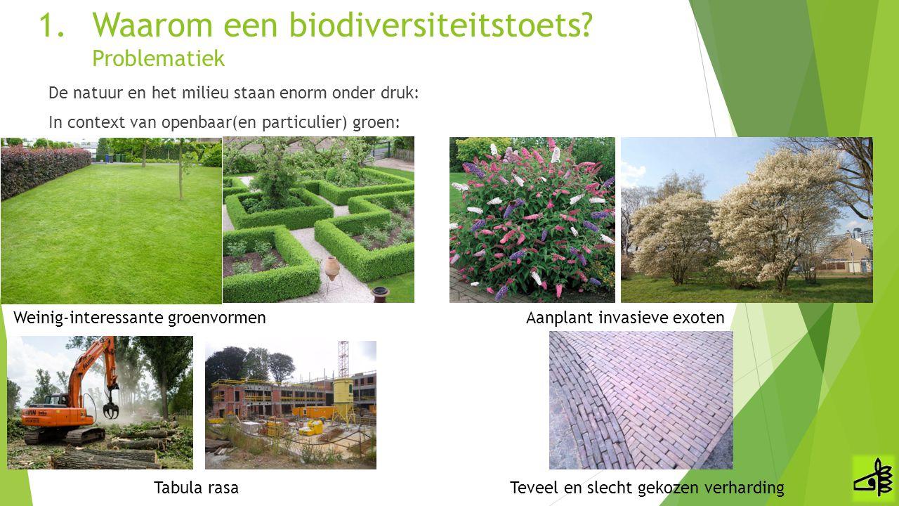 Verander de wereld, begin bij jezelf Verhoog de lokale biodiversiteit door het groen in je eigen leefomgeving om te vormen naar een beter geschikte plaats voor meer planten, dieren en voor jezelf 1.Waarom een biodiversiteitstoets.