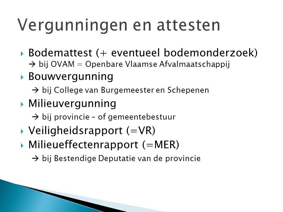  Bodemattest (+ eventueel bodemonderzoek)  bij OVAM = Openbare Vlaamse Afvalmaatschappij  Bouwvergunning  bij College van Burgemeester en Schepenen  Milieuvergunning  bij provincie – of gemeentebestuur  Veiligheidsrapport (=VR)  Milieueffectenrapport (=MER)  bij Bestendige Deputatie van de provincie
