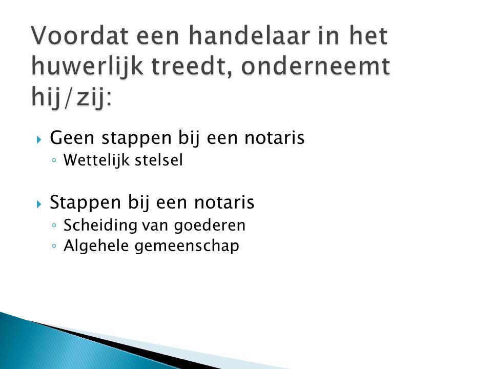  Geen stappen bij een notaris ◦ Wettelijk stelsel  Stappen bij een notaris ◦ Scheiding van goederen ◦ Algehele gemeenschap