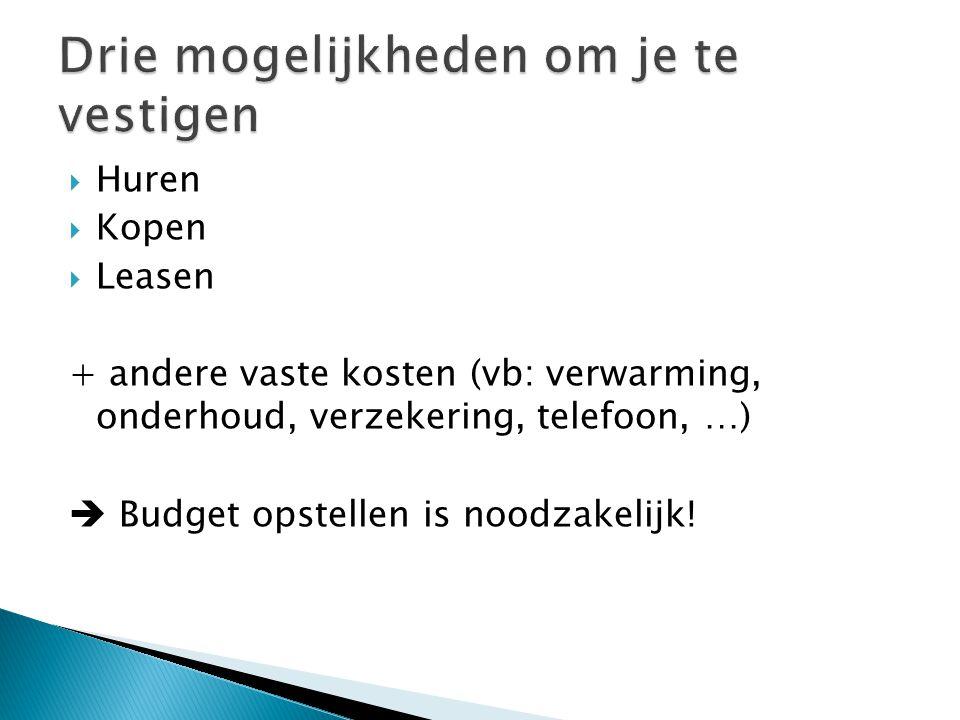  Huren  Kopen  Leasen + andere vaste kosten (vb: verwarming, onderhoud, verzekering, telefoon, …)  Budget opstellen is noodzakelijk!