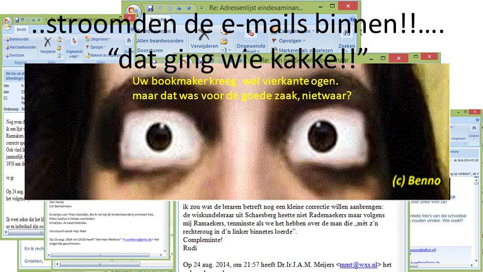 ..stroomden de e-mails binnen!!…. dat ging wie kakke!! Uw bookmaker kreeg wel vierkante ogen.