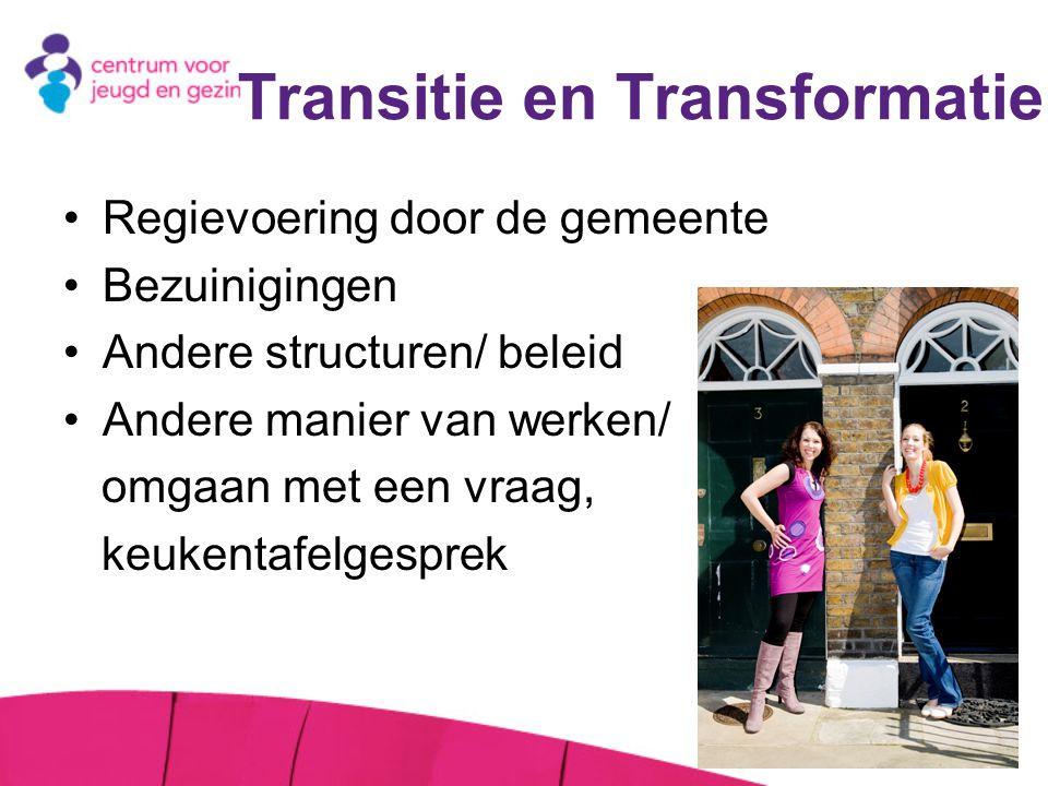 Transitie en Transformatie Regievoering door de gemeente Bezuinigingen Andere structuren/ beleid Andere manier van werken/ omgaan met een vraag, keuke