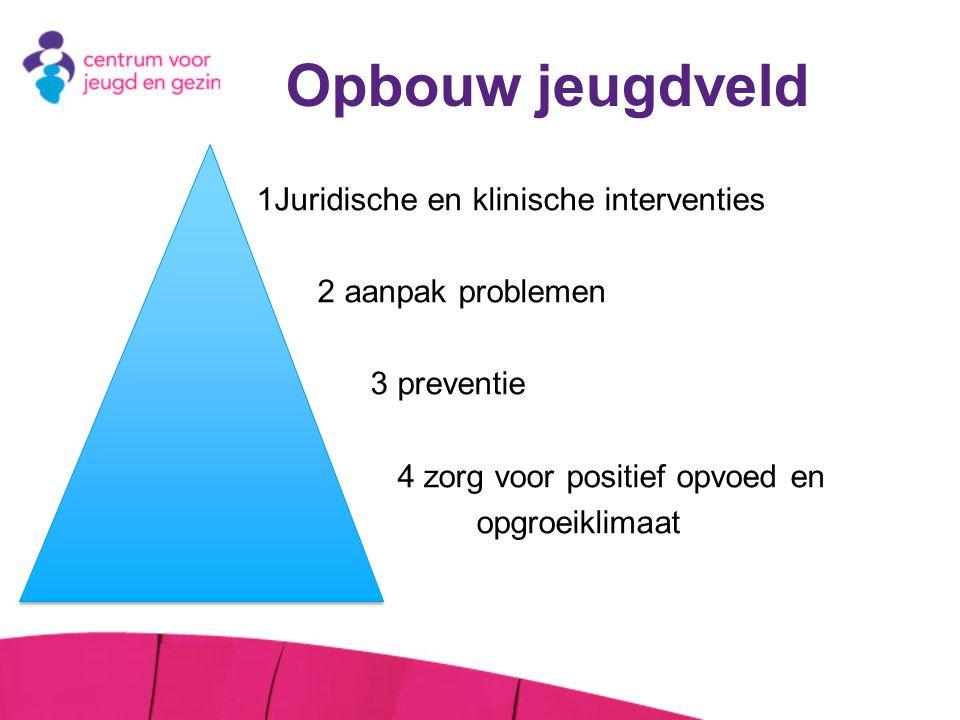 Opbouw jeugdveld 1Juridische en klinische interventies » 2 aanpak problemen » 3 preventie » 4 zorg voor positief opvoed en » opgroeiklimaat