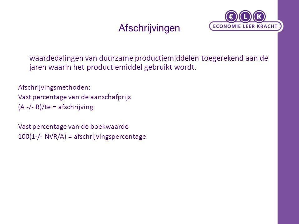 Afschrijvingen waardedalingen van duurzame productiemiddelen toegerekend aan de jaren waarin het productiemiddel gebruikt wordt. Afschrijvingsmethoden