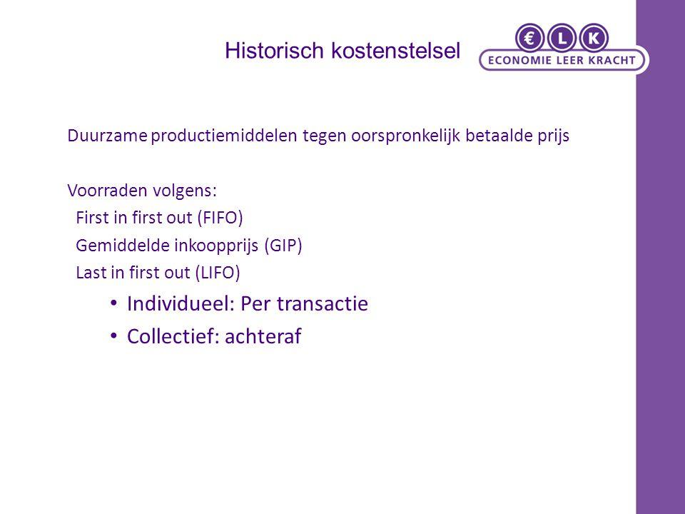 Historisch kostenstelsel Duurzame productiemiddelen tegen oorspronkelijk betaalde prijs Voorraden volgens: First in first out (FIFO) Gemiddelde inkoop