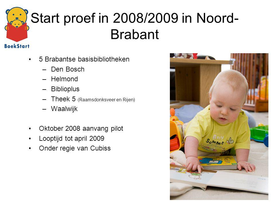 Start proef in 2008/2009 in Noord- Brabant 5 Brabantse basisbibliotheken –Den Bosch –Helmond –Biblioplus –Theek 5 (Raamsdonksveer en Rijen) –Waalwijk