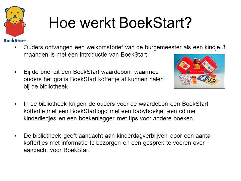 Hoe werkt BoekStart? Ouders ontvangen een welkomstbrief van de burgemeester als een kindje 3 maanden is met een introductie van BoekStart Bij de brief