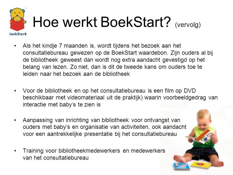 Hoe werkt BoekStart? (vervolg) Als het kindje 7 maanden is, wordt tijdens het bezoek aan het consultatiebureau gewezen op de BoekStart waardebon. Zijn