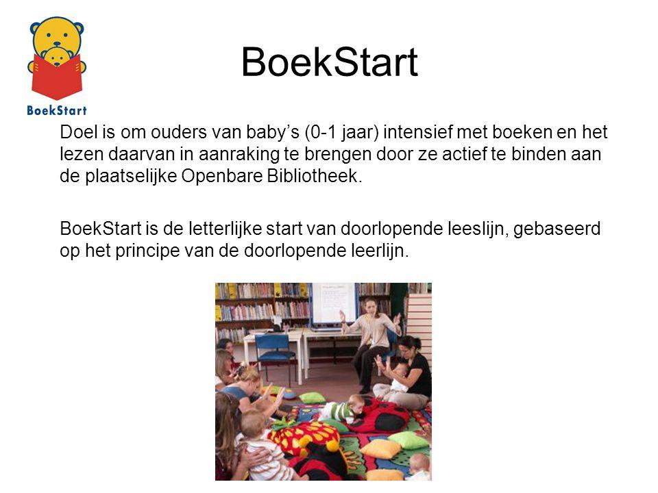 BoekStart Doel is om ouders van baby's (0-1 jaar) intensief met boeken en het lezen daarvan in aanraking te brengen door ze actief te binden aan de pl