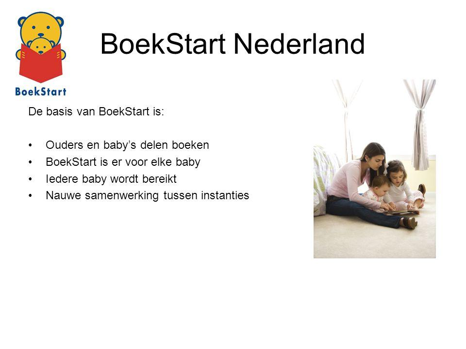 BoekStart Nederland De basis van BoekStart is: Ouders en baby's delen boeken BoekStart is er voor elke baby Iedere baby wordt bereikt Nauwe samenwerki