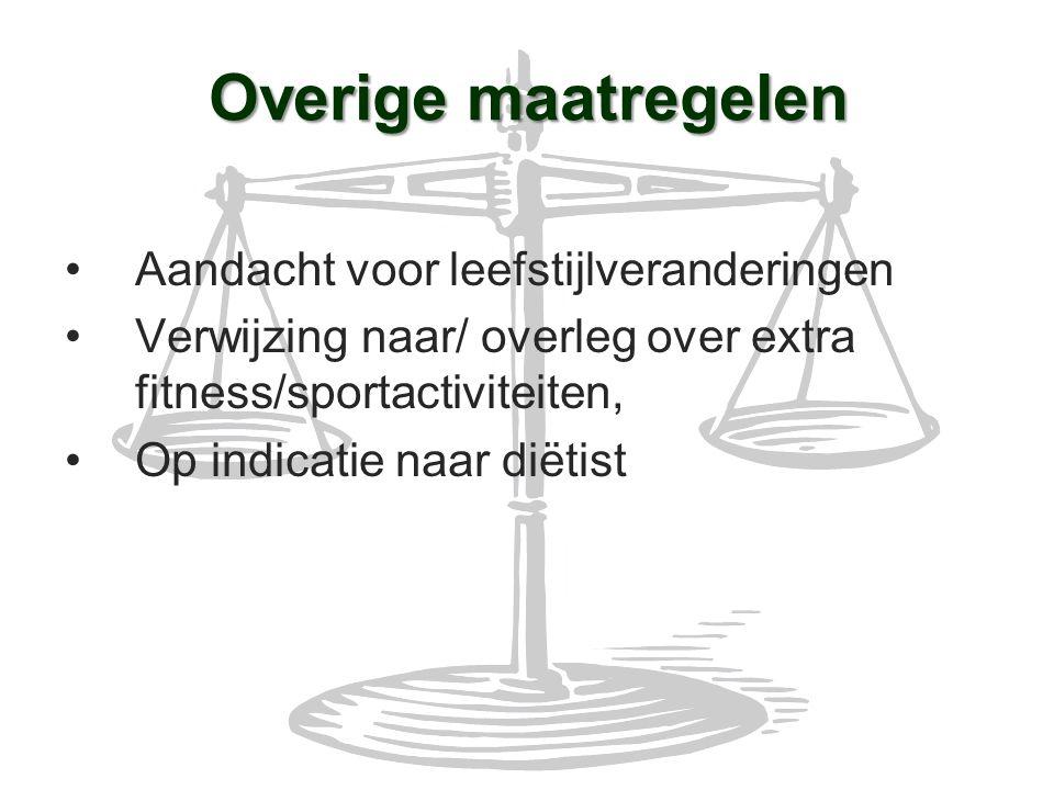 Overige maatregelen Aandacht voor leefstijlveranderingen Verwijzing naar/ overleg over extra fitness/sportactiviteiten, Op indicatie naar diëtist