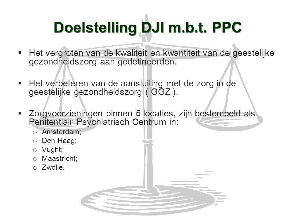 Doelstelling DJI m.b.t. PPC  Het vergroten van de kwaliteit en kwantiteit van de geestelijke gezondheidszorg aan gedetineerden.  Het verbeteren van