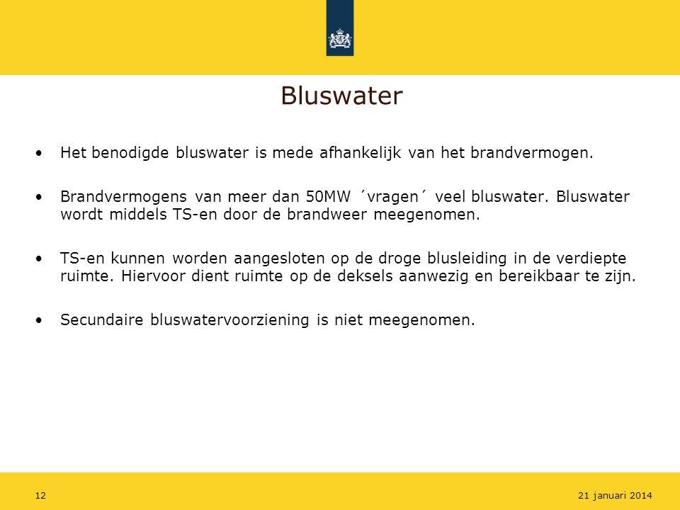 Bluswater Het benodigde bluswater is mede afhankelijk van het brandvermogen. Brandvermogens van meer dan 50MW ´vragen´ veel bluswater. Bluswater wordt