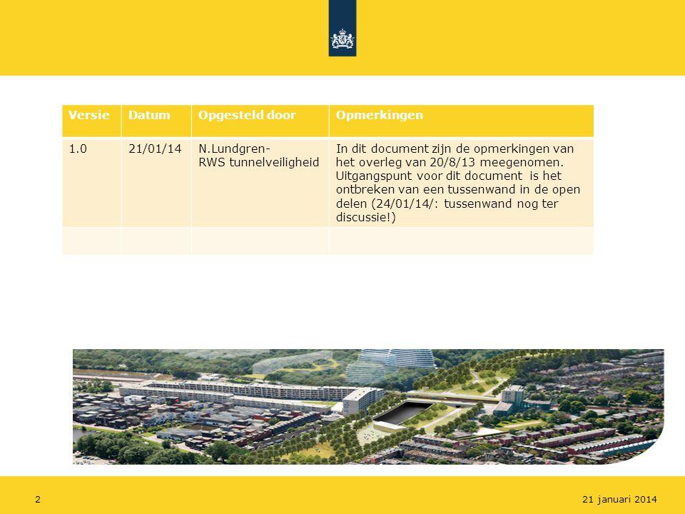 221 januari 2014 VersieDatumOpgesteld doorOpmerkingen 1.021/01/14N.Lundgren- RWS tunnelveiligheid In dit document zijn de opmerkingen van het overleg van 20/8/13 meegenomen.