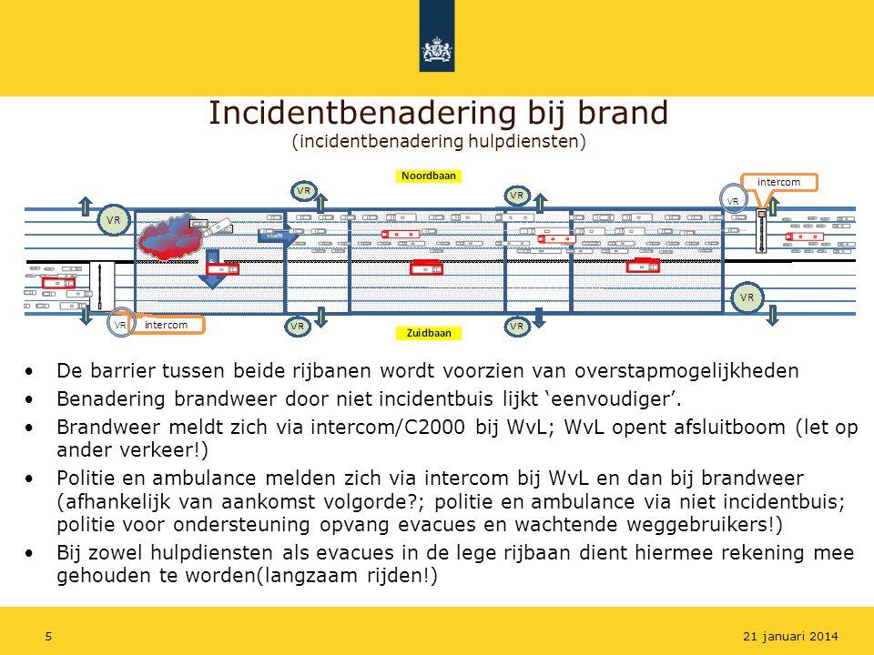 Incidentbenadering bij brand (incidentbenadering hulpdiensten) De barrier tussen beide rijbanen wordt voorzien van overstapmogelijkheden Benadering br