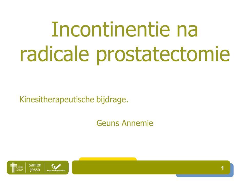 Incontinentie na radicale prostatectomie Kinesitherapeutische bijdrage. Geuns Annemie 1