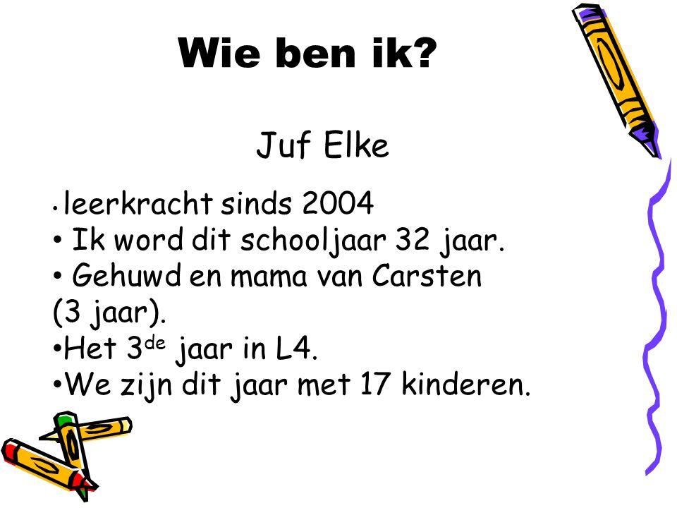 Wie ben ik? Juf Elke leerkracht sinds 2004 Ik word dit schooljaar 32 jaar. Gehuwd en mama van Carsten (3 jaar). Het 3 de jaar in L4. We zijn dit jaar