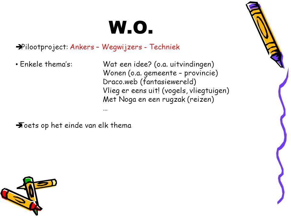 W.O.  Pilootproject: Ankers – Wegwijzers - Techniek Enkele thema's: Wat een idee? (o.a. uitvindingen) Wonen (o.a. gemeente – provincie) Draco.web (fa