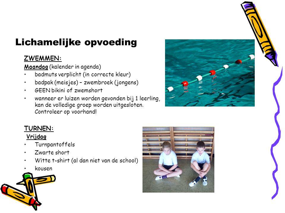 ZWEMMEN: Maandag (kalender in agenda) badmuts verplicht (in correcte kleur) badpak (meisjes) – zwembroek (jongens) GEEN bikini of zwemshort wanneer er