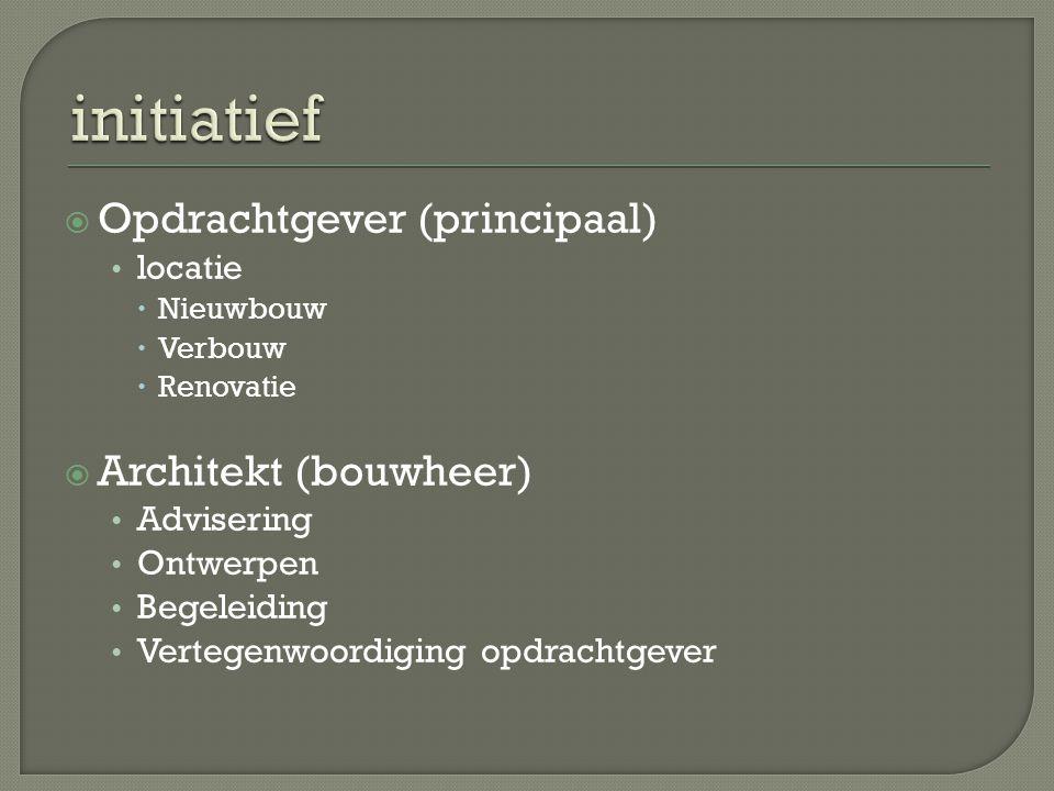  Opdrachtgever (principaal) locatie  Nieuwbouw  Verbouw  Renovatie  Architekt (bouwheer) Advisering Ontwerpen Begeleiding Vertegenwoordiging opdr