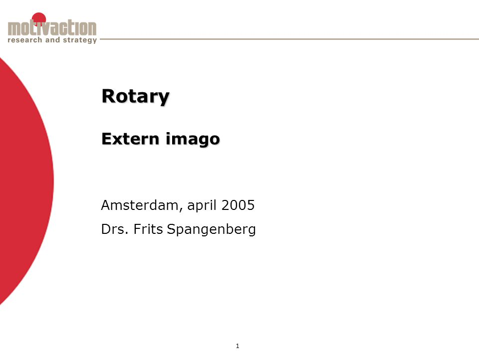 1 Amsterdam, april 2005 Drs. Frits Spangenberg Rotary Extern imago
