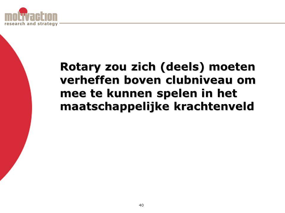 40 Rotary zou zich (deels) moeten verheffen boven clubniveau om mee te kunnen spelen in het maatschappelijke krachtenveld
