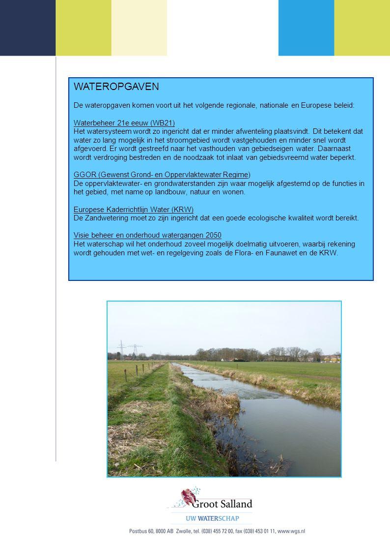 WATEROPGAVEN De wateropgaven komen voort uit het volgende regionale, nationale en Europese beleid: Waterbeheer 21e eeuw (WB21) Het watersysteem wordt