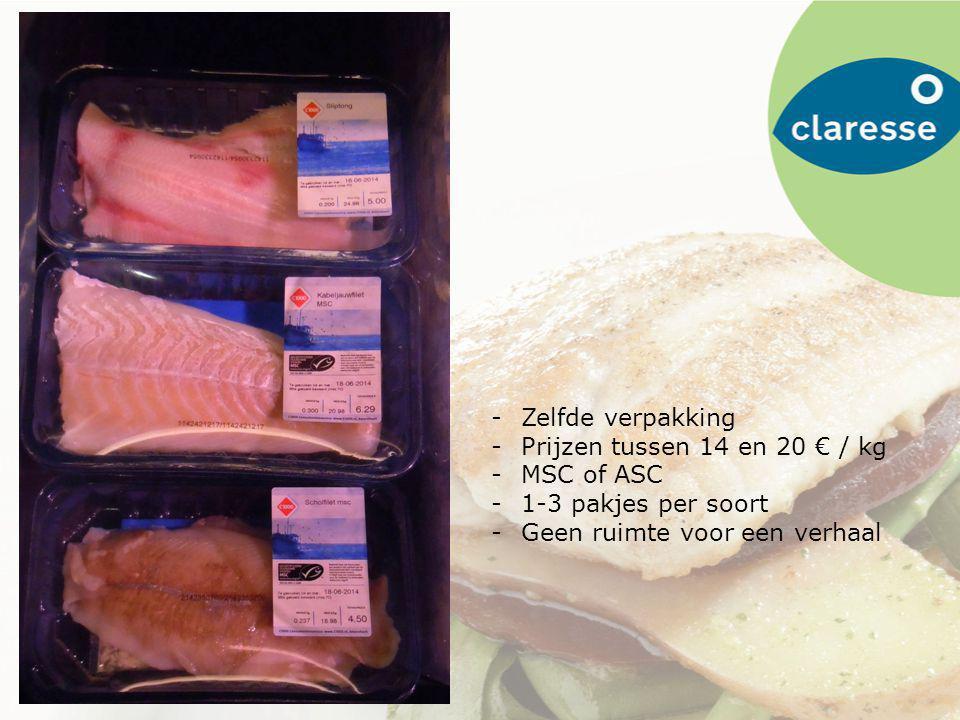 -Zelfde verpakking -Prijzen tussen 14 en 20 € / kg -MSC of ASC -1-3 pakjes per soort -Geen ruimte voor een verhaal