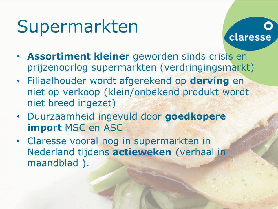 Supermarkten Assortiment kleiner geworden sinds crisis en prijzenoorlog supermarkten (verdringingsmarkt) Filiaalhouder wordt afgerekend op derving en niet op verkoop (klein/onbekend produkt wordt niet breed ingezet) Duurzaamheid ingevuld door goedkopere import MSC en ASC Claresse vooral nog in supermarkten in Nederland tijdens actieweken (verhaal in maandblad ).