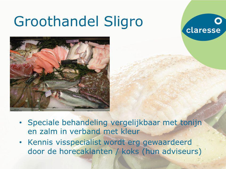 Groothandel Sligro Speciale behandeling vergelijkbaar met tonijn en zalm in verband met kleur Kennis visspecialist wordt erg gewaardeerd door de horecaklanten / koks (hun adviseurs)