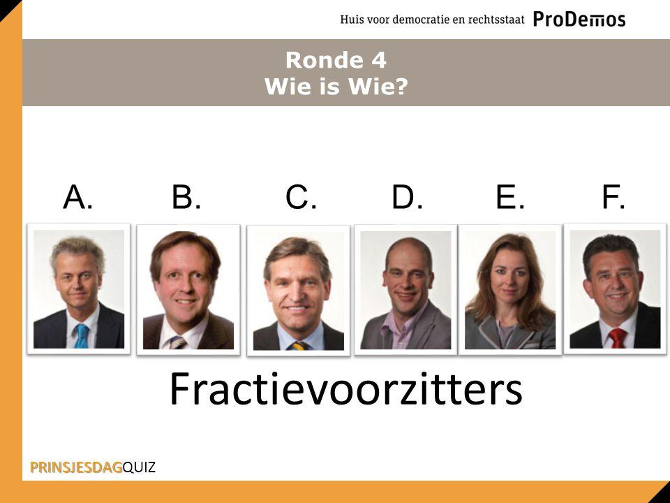 Ronde 4 Wie is Wie? Fractievoorzitters PRINSJESDAG PRINSJESDAGQUIZ A.B. C. D. E. F.