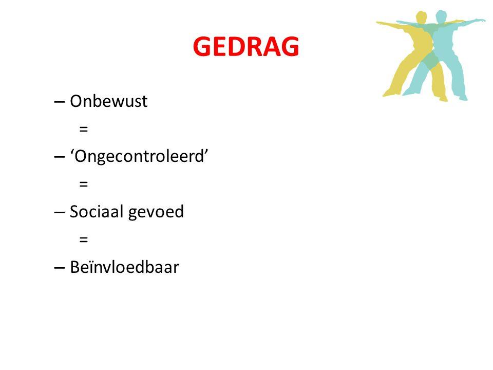 GEDRAG – Onbewust = – 'Ongecontroleerd' = – Sociaal gevoed = – Beïnvloedbaar