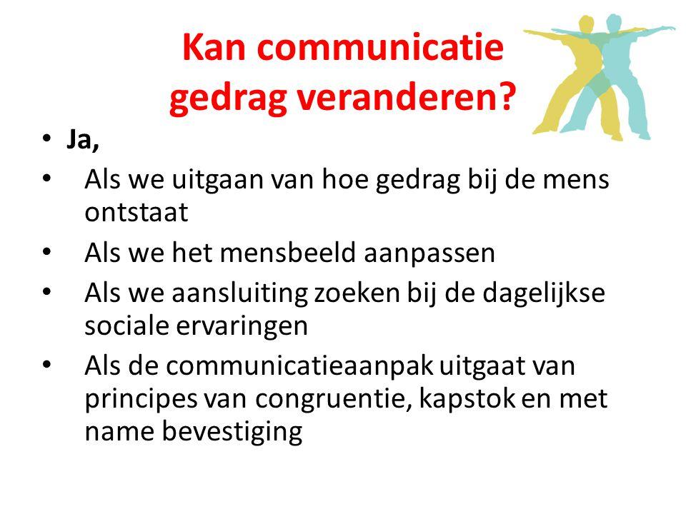 Kan communicatie gedrag veranderen.