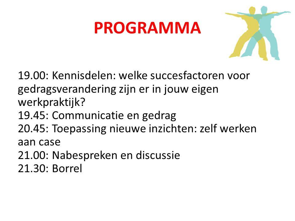 PROGRAMMA 19.00: Kennisdelen: welke succesfactoren voor gedragsverandering zijn er in jouw eigen werkpraktijk.