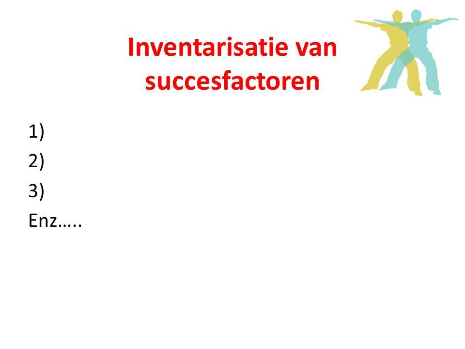 Inventarisatie van succesfactoren 1) 2) 3) Enz…..