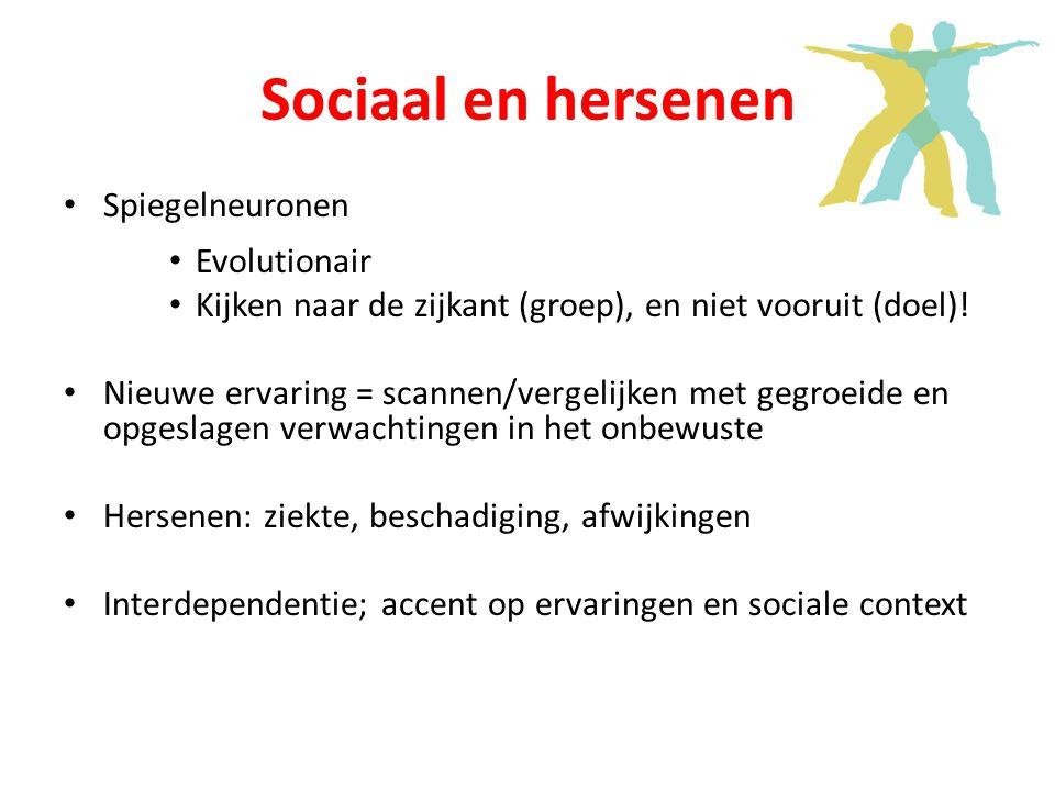 Sociaal en hersenen Spiegelneuronen Evolutionair Kijken naar de zijkant (groep), en niet vooruit (doel).