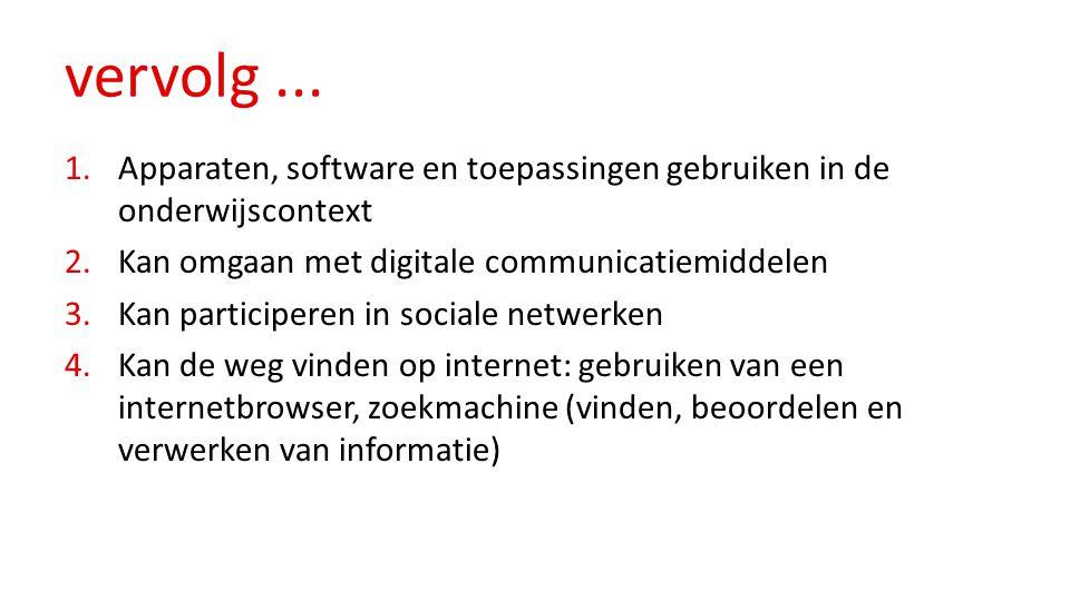 vervolg... 1.Apparaten, software en toepassingen gebruiken in de onderwijscontext 2.Kan omgaan met digitale communicatiemiddelen 3.Kan participeren in