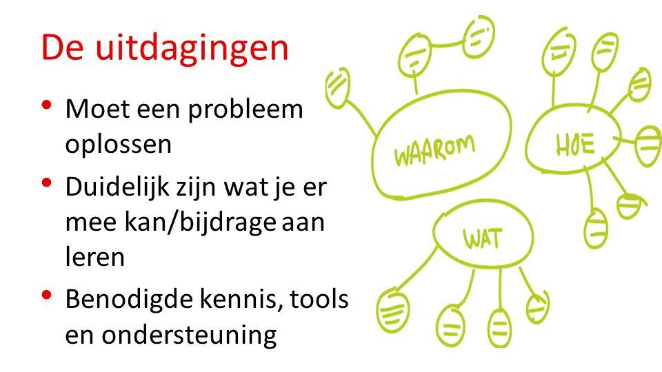 De uitdagingen Moet een probleem oplossen Duidelijk zijn wat je er mee kan/bijdrage aan leren Benodigde kennis, tools en ondersteuning