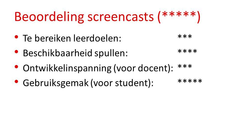 Beoordeling screencasts (*****) Te bereiken leerdoelen: *** Beschikbaarheid spullen: **** Ontwikkelinspanning (voor docent): *** Gebruiksgemak (voor student): *****