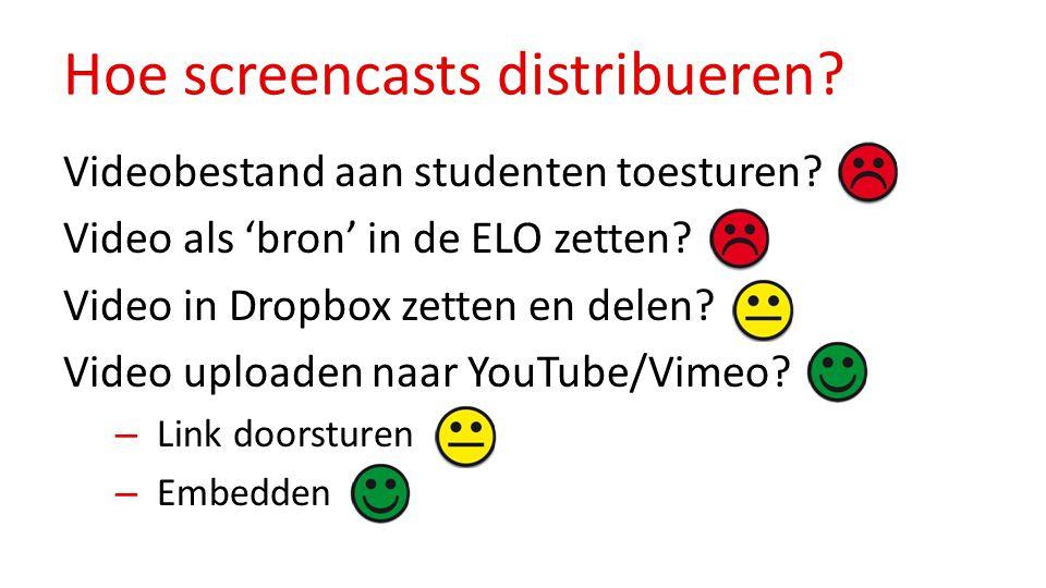 Hoe screencasts distribueren? Videobestand aan studenten toesturen? Video als 'bron' in de ELO zetten? Video in Dropbox zetten en delen? Video uploade