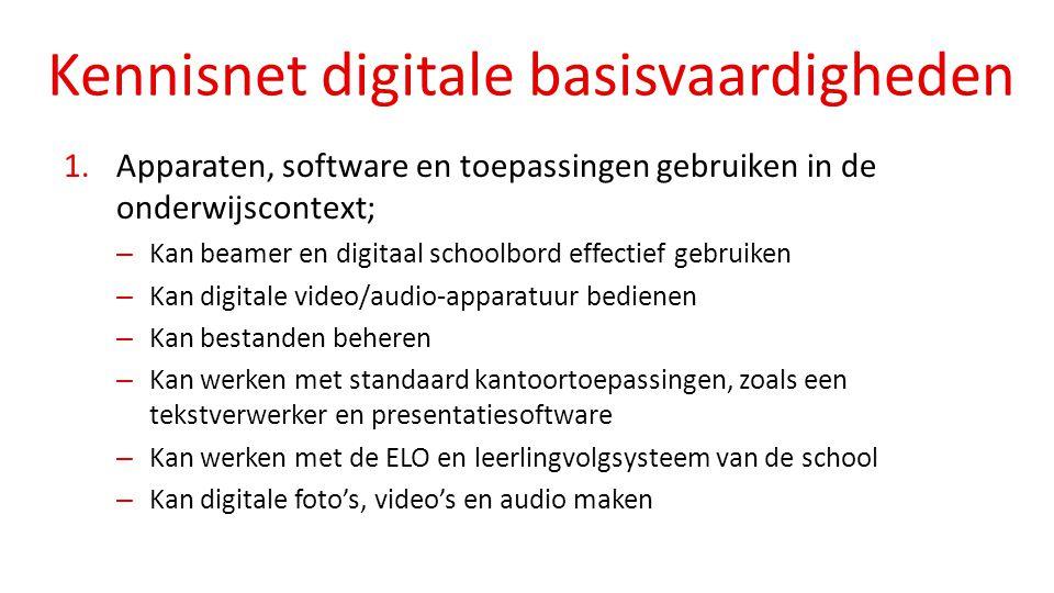 Kennisnet digitale basisvaardigheden 1.Apparaten, software en toepassingen gebruiken in de onderwijscontext; – Kan beamer en digitaal schoolbord effec