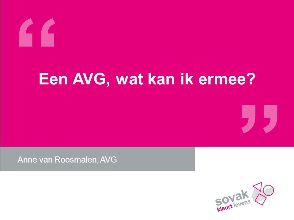 Een AVG, wat kan ik ermee? Anne van Roosmalen, AVG