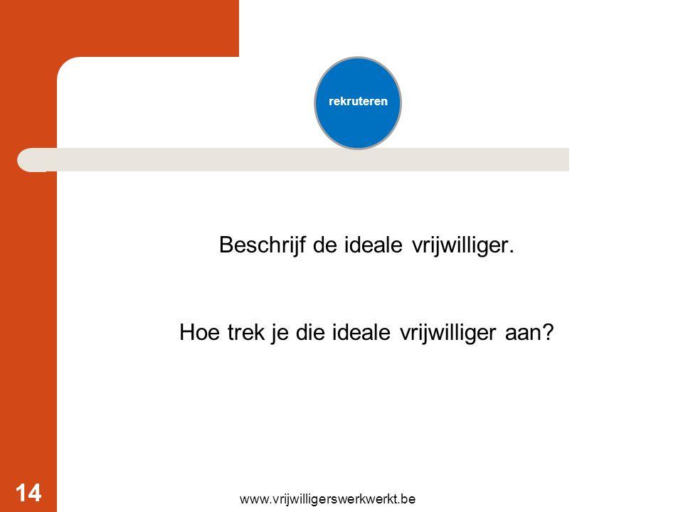 Beschrijf de ideale vrijwilliger. Hoe trek je die ideale vrijwilliger aan? rekruteren www.vrijwilligerswerkwerkt.be 14