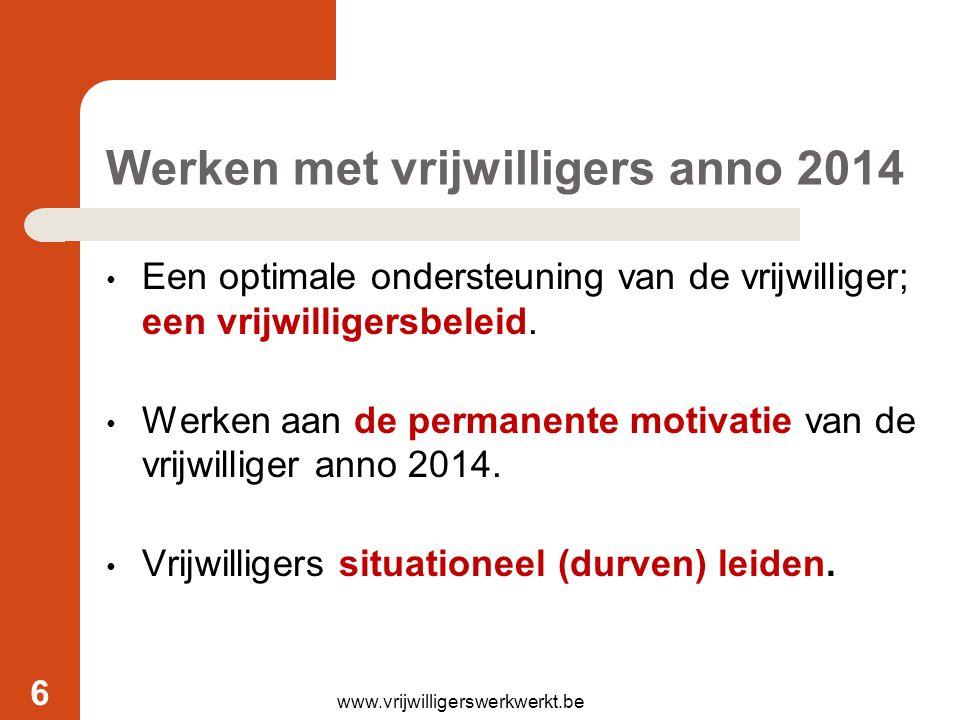 Werken met vrijwilligers anno 2014 Een optimale ondersteuning van de vrijwilliger; een vrijwilligersbeleid. Werken aan de permanente motivatie van de