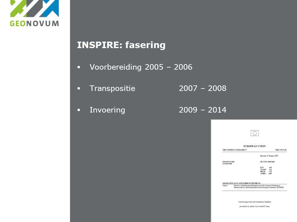 INSPIRE: fasering  Voorbereiding2005 – 2006  Transpositie2007 – 2008  Invoering2009 – 2014